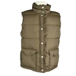 J Crew L Quilted Zip Up Down Puffer Vest Taupe